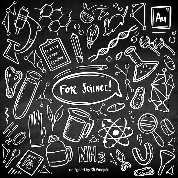 Lavagna di chimica disegnata a mano Vettore gratuito