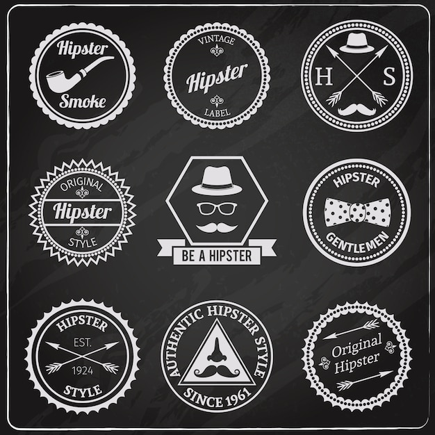 Lavagna di etichette hipster Vettore gratuito