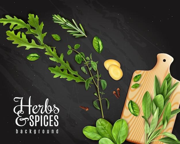 Lavagna verde di promozione delle erbe degli ortaggi a foglia con lo zenzero degli spinaci del rosmarino della rucola sul tagliere Vettore gratuito