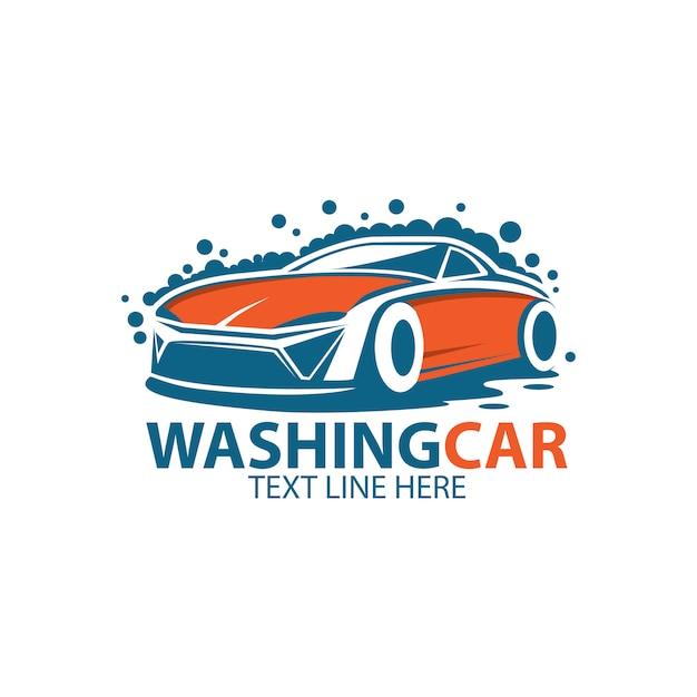 Lavare il modello logo auto Vettore Premium