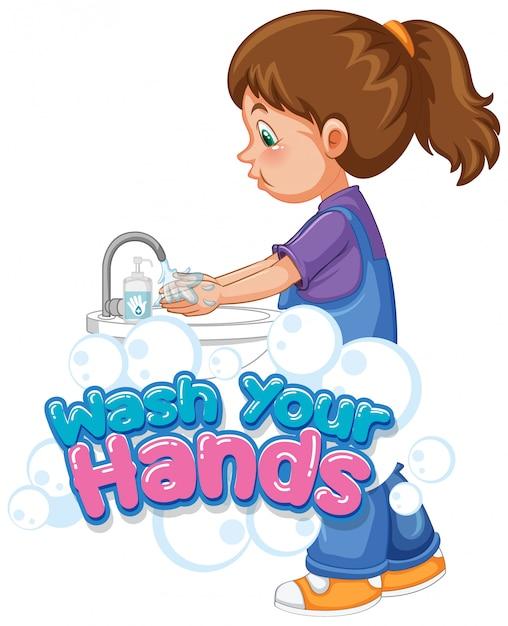 Lavare le mani poster design con ragazza lavarsi le mani Vettore gratuito