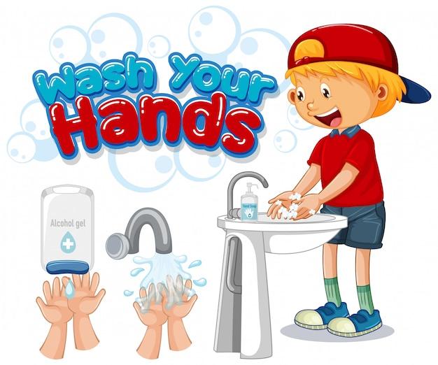 Lavare le mani poster design con ragazzo felice Vettore gratuito