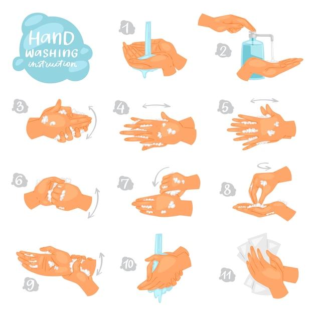 Lavarsi le mani le istruzioni vettoriali di lavaggio o pulizia mani con sapone e schiuma in acqua illustrazione antibatterico set di skincare sano con le bollicine isolato Vettore Premium