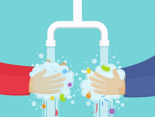 Lavarsi le mani sotto il rubinetto con sapone, concetto di igiene. ragazzo e ragazza lavano via i germi dalle mani. Vettore Premium
