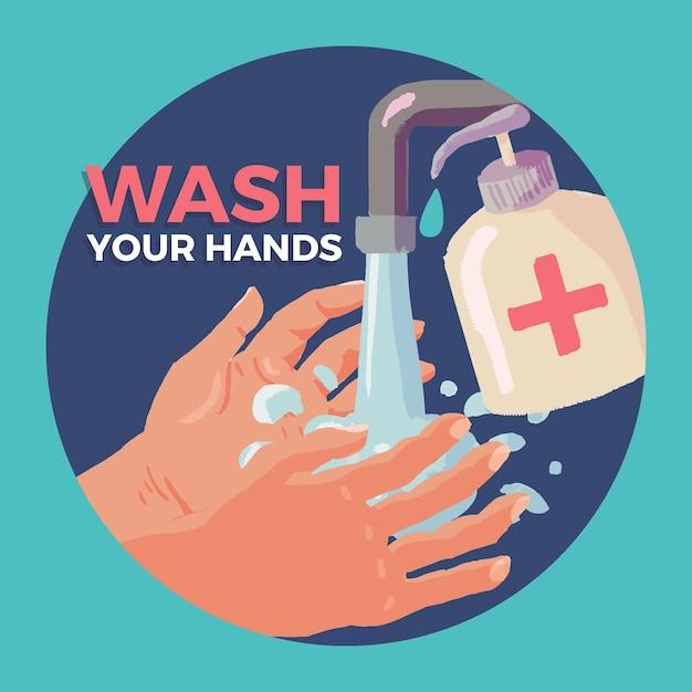 Lavati il concetto delle mani Vettore gratuito