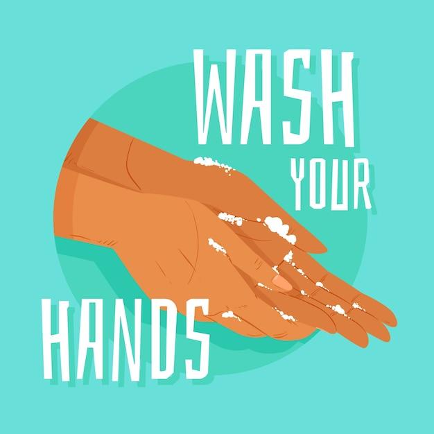 Lavati l'illustrazione delle mani Vettore gratuito