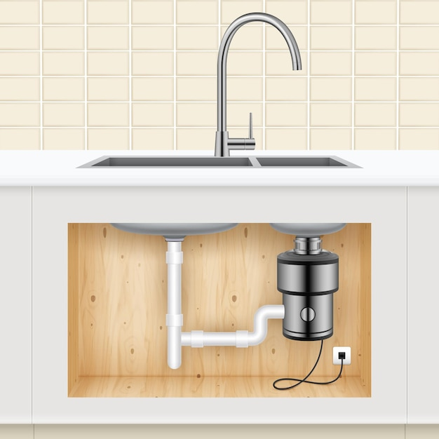 Lavello con dissipatore per rifiuti alimentari collegato alla presa elettrica realistico Vettore gratuito