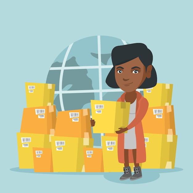 Lavoratore aziendale di servizio di consegna internazionale. Vettore Premium