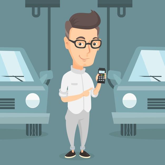 Lavoratore che controlla catena di montaggio automatizzata per l'automobile Vettore Premium