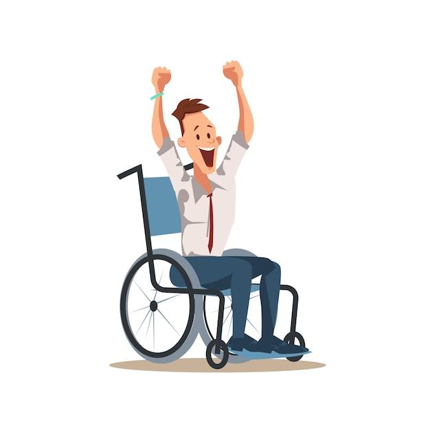 Lavoratore disabile felice del lavoratore maschio con la mano su Vettore Premium