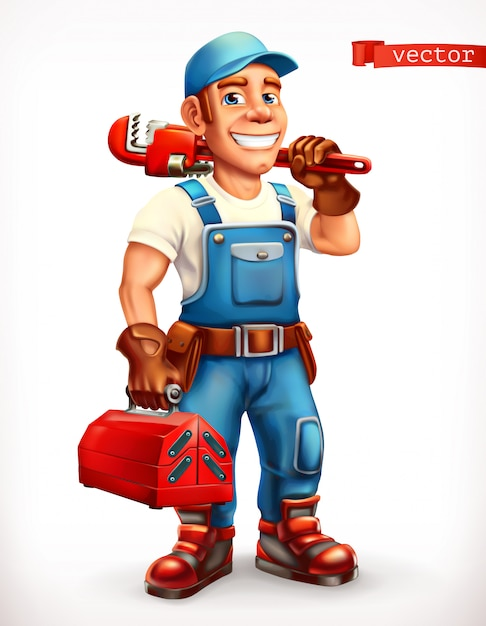 Lavoratore. riparatore, carattere allegro. icona 3d. Vettore Premium