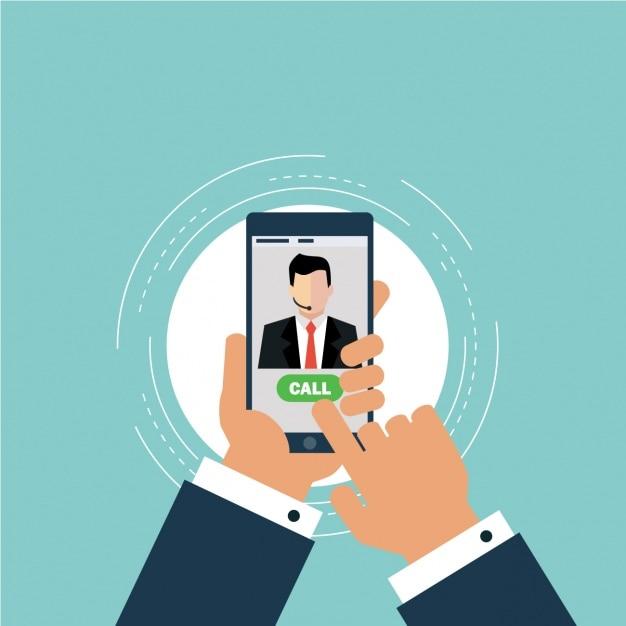 Lavoratore utilizzando il suo telefono per chiamare Vettore gratuito
