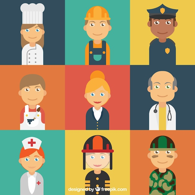 Lavoratori avatars con stile felice Vettore gratuito