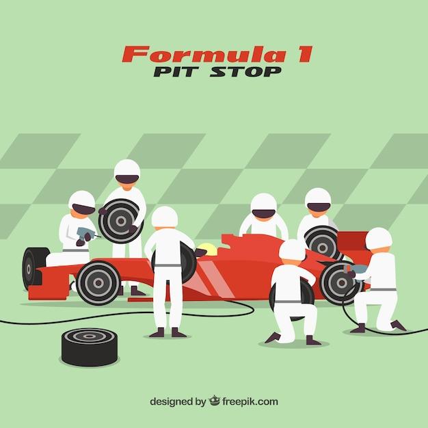 Lavoratori di pit stop di formula 1 con design piatto Vettore gratuito