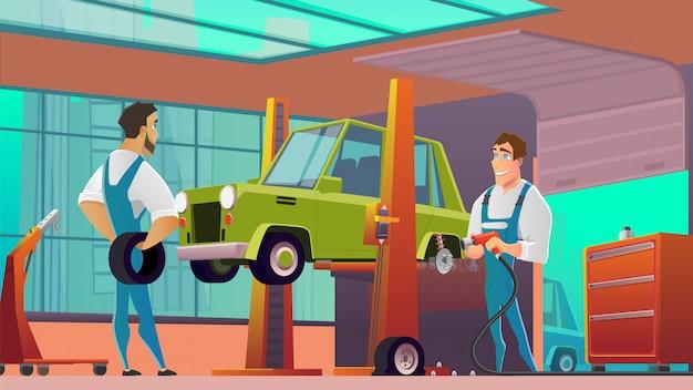 Lavoratori di servizio dell'automobile al fumetto dell'officina Vettore Premium