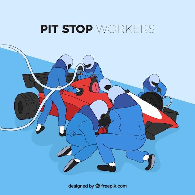 Lavoratori disegnati a mano con formula pit stop Vettore gratuito
