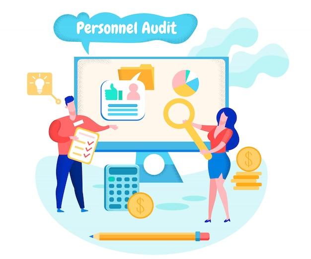 Lavoratori su monitor di sfondo. audit personale. Vettore Premium