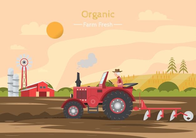 Lavori agricoli su un campo con trattore. Vettore Premium