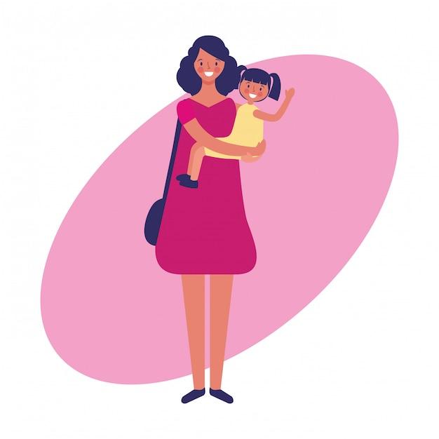 Lavori di madre e figlia e tiraggio della mano di professione Vettore Premium