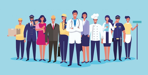 Lavori e professioni Vettore Premium