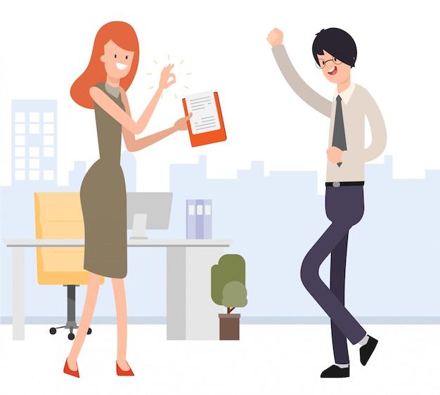 Lavoro approvato donna d'affari per uomo d'affari. Vettore Premium