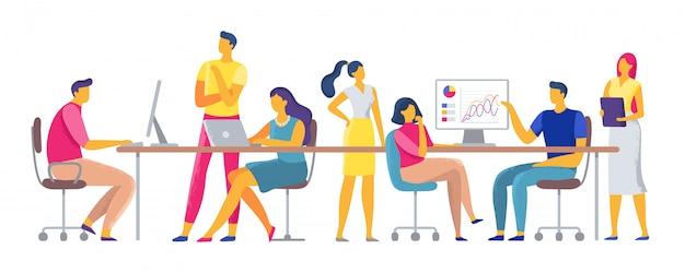 Lavoro di gruppo di lavoro, squadra che lavora insieme nello spazio di coworking, impiegati di squadra e colleghi di lavoro Vettore Premium