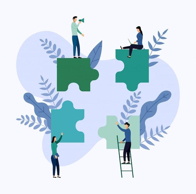 Lavoro di gruppo, persone che collegano elementi puzzle Vettore Premium