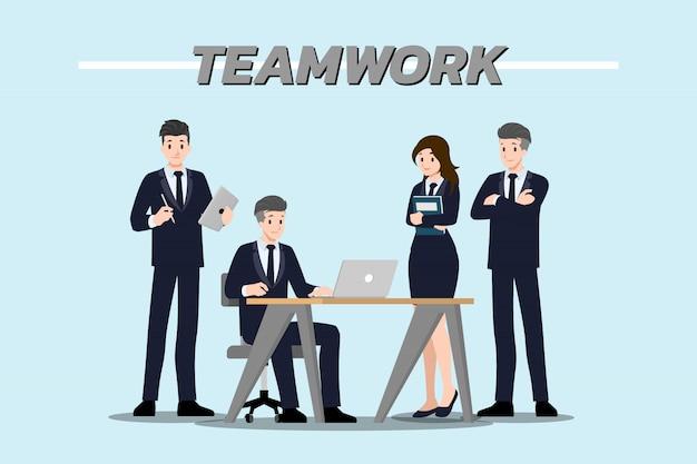 Lavoro di squadra dell'uomo d'affari. Vettore Premium