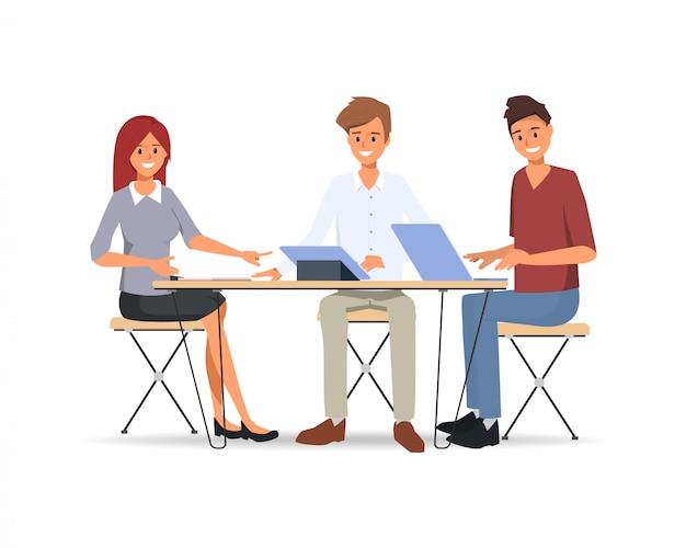 Lavoro di squadra di uomini d'affari co lavoro Vettore Premium