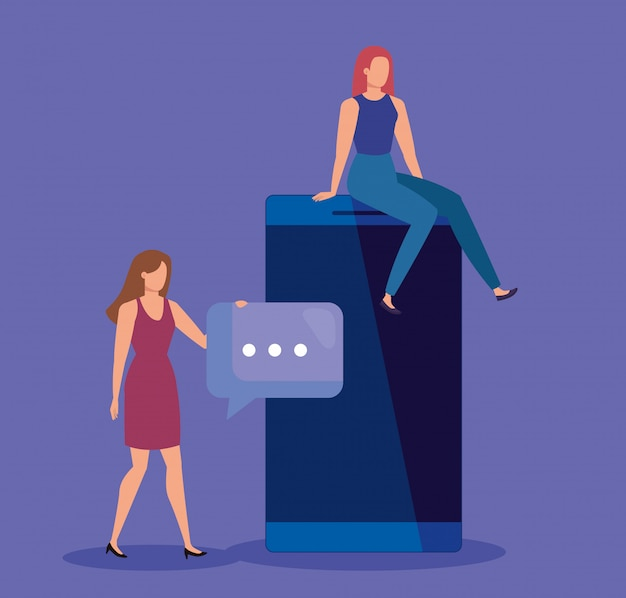 Lavoro di squadra femminile con tecnologia smartphone e bolla di chat Vettore Premium