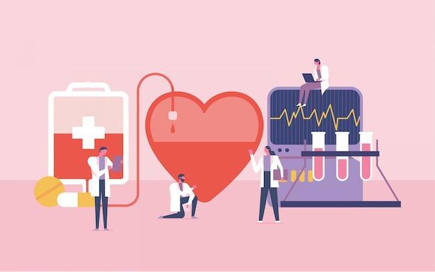 Lavoro di squadra per l'illustrazione del donatore di sangue Vettore Premium