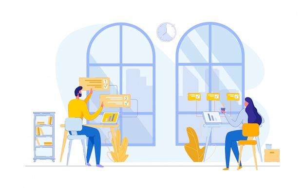 Lavoro di squadra proccess coworking place Vettore Premium