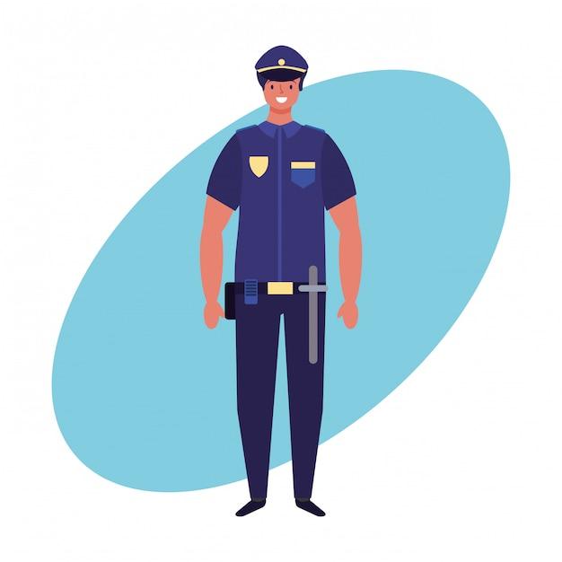 Lavoro di ufficiale di polizia e tiraggio della mano di professione Vettore Premium