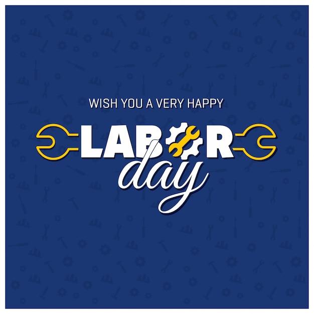 Lavoro happy day creativo tipografia su un pattern di sfondo blu Vettore gratuito