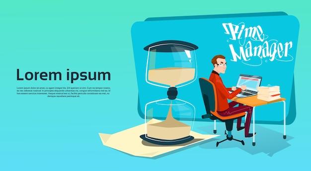 Lavoro libero del commerciante dell'uomo di affari Vettore Premium