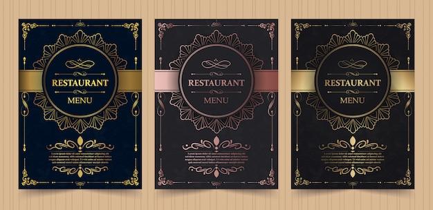 Layout copertina menu con elementi ornamentali per ristorante di lusso Vettore Premium