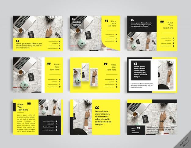 Layout del libro giallo aziendale Vettore Premium