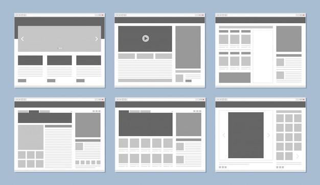 Layout del sito web. finestra del browser di internet del modello di pagine web con il vettore delle icone degli elementi di ui e delle insegne Vettore Premium