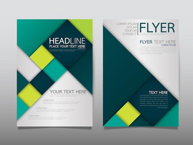 Layout di brochure aziendale copertina modello verde. Vettore Premium