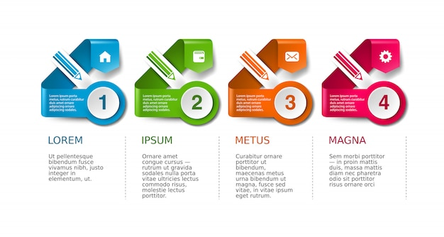 Layout di presentazione aziendale, insieme di sfondo infografica flusso di lavoro della timeline. Vettore Premium