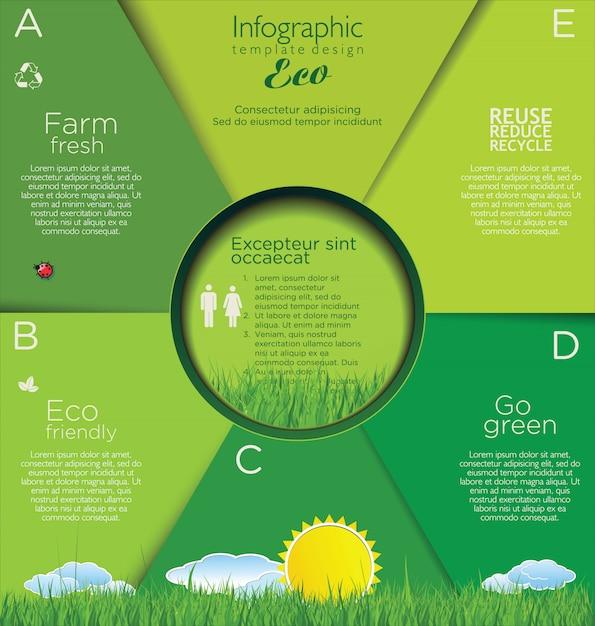 Layout di progettazione di ecologia moderna Vettore Premium