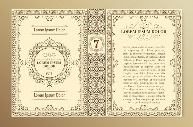 Layout e design vintage del modello di copertina del libro Vettore Premium