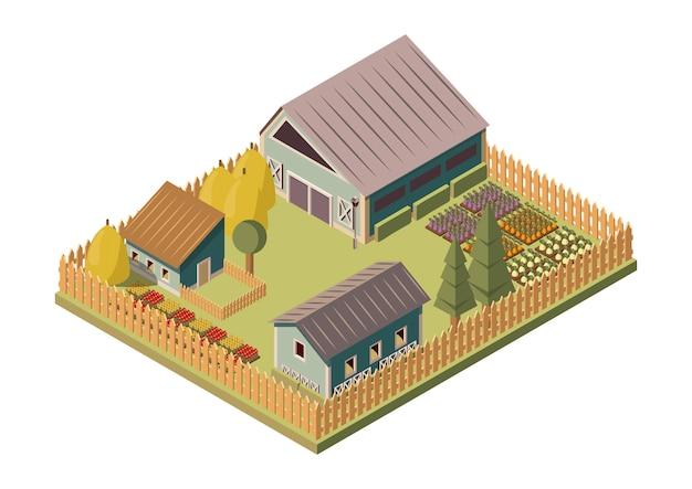 Layout isometrica del ranch Vettore gratuito