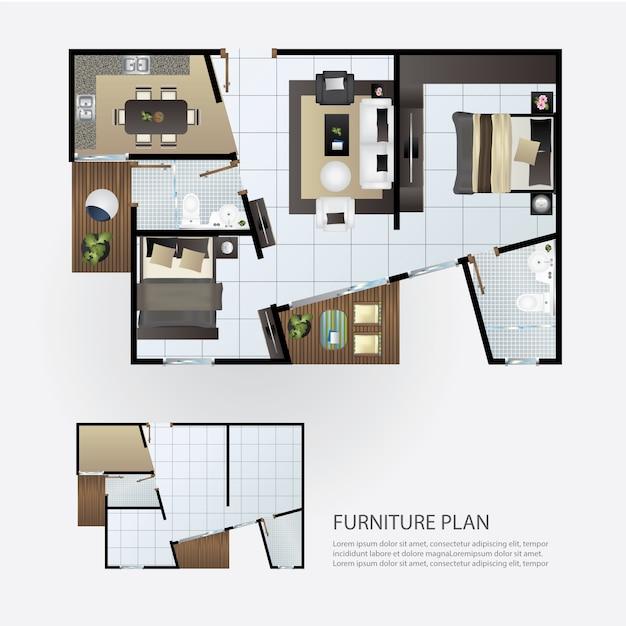Layout piano interno con mobili Vettore Premium