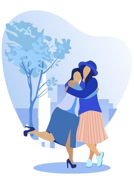 Le amiche si abbracciano strette per rallegrarsi Vettore Premium
