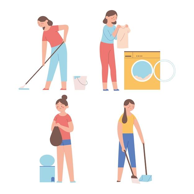 Le attività delle casalinghe fanno i lavori domestici Vettore Premium
