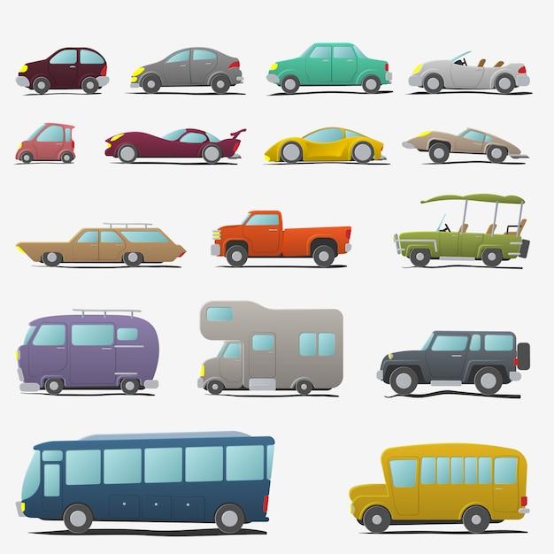 Le automobili del fumetto hanno impostato isolato Vettore Premium