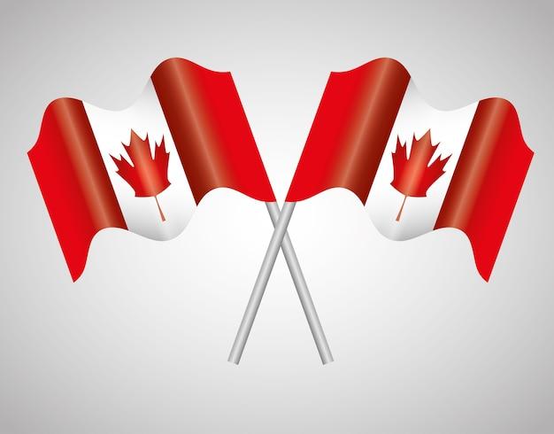 Le bandiere del canada hanno attraversato progettazione dell'illustrazione di vettore dell'emblema Vettore Premium