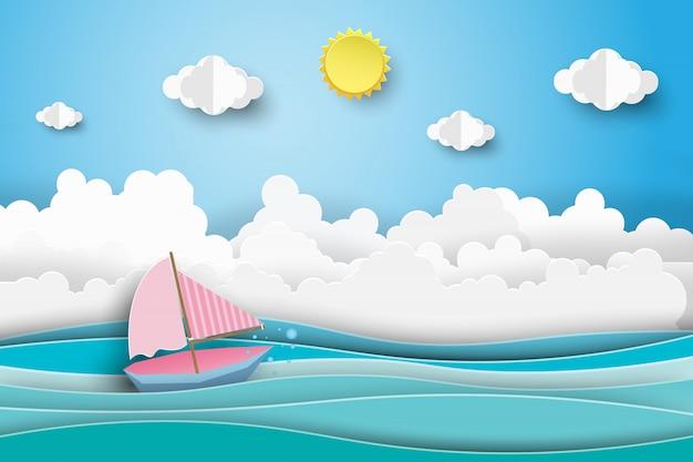 Le barche a vela sull'oceano abbelliscono con cielo blu. Vettore Premium