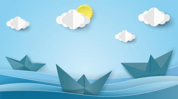 Le barche a vela sull'oceano abbelliscono con il concetto dell'estate. Vettore Premium